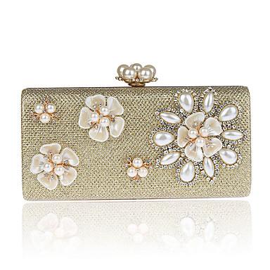 Damen Taschen Polyester ABS + PC Abendtasche Crystal / Strass Blume für Hochzeit Veranstaltung / Fest Formal Ganzjährig Gold Schwarz
