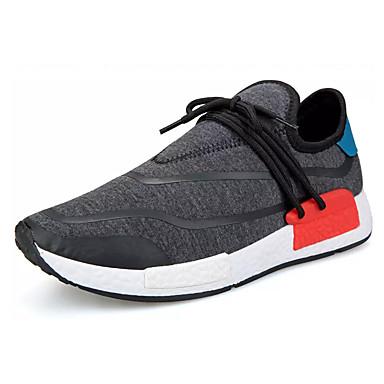 Homens sapatos Tule Primavera / Outono Conforto Tênis Caminhada Preto / Cinzento
