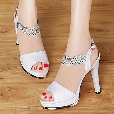 Naiset Kengät Nahka PU Kevät Comfort Sandaalit Käyttötarkoitus Kausaliteetti Valkoinen Musta