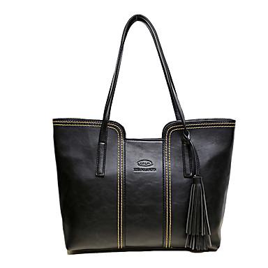 Women's Bags PU Shoulder Bag Zipper Black / Gray / Brown