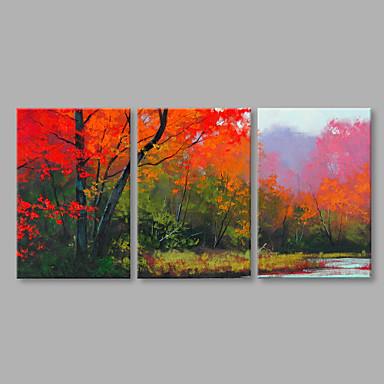 Pintura a Óleo Pintados à mão - Paisagem Abstracto Moderno / Contemporâneo Tela de pintura 3 Painéis