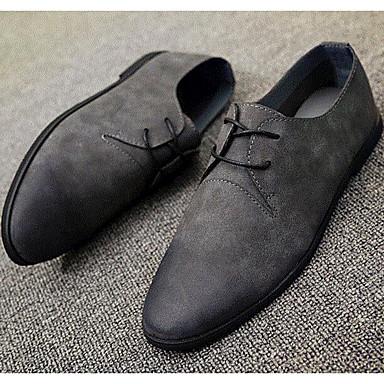 Miehet kengät Tekonahka Kevät Comfort Lenkkitossut varten Kausaliteetti Musta Harmaa Ruskea