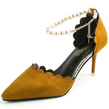 Mulheres Sapatos Cashmere Verão Saltos Caminhada Salto Agulha Dedo Apontado Pérolas para Preto Amarelo Verde