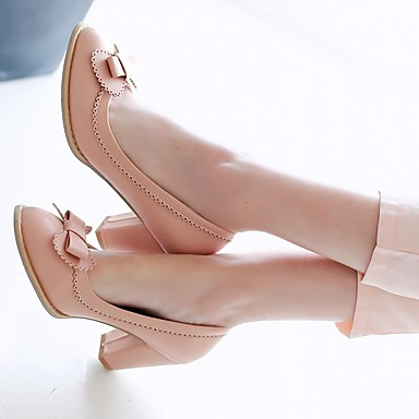 Eté Bleu Polyuréthane Bout Femme Automne Rose rond Marche Similicuir Noir Chaussures Chaussures Bottier Noeud Talon 05984053 à Talons ZExqqnt