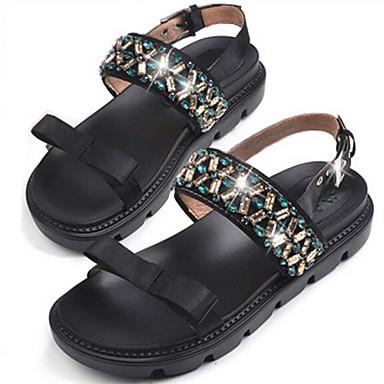 Naiset Sandaalit Silkki Glitter Kevät Musta Tasapohja