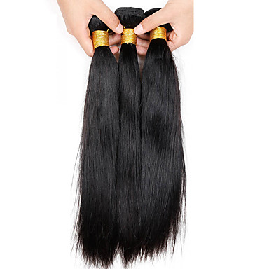 3 pacotes Cabelo Brasileiro Liso Cabelo Virgem Cabelo Humano Ondulado 8-26 polegada Tramas de cabelo humano Extensões de cabelo humano / Reto