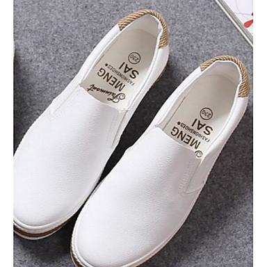 Damen Flache Schuhe Frühling Leinwand PU Weiß Schwarz Flach