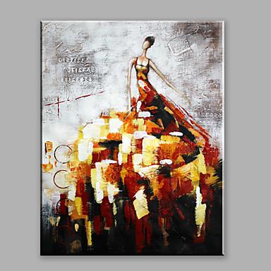 Maalattu AbstraktiAbstrakti 1 paneeli Kanvas Hang-Painted öljymaalaus For Kodinsisustus