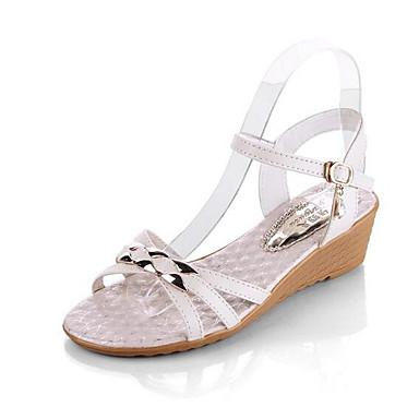 Naiset Kengät PU Kevät Comfort Sandaalit Käyttötarkoitus Kausaliteetti Valkoinen Sininen