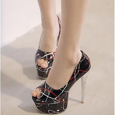 Naiset Sandaalit Comfort PU Kevät Kausaliteetti Comfort Musta Punainen Vihreä Tasapohja