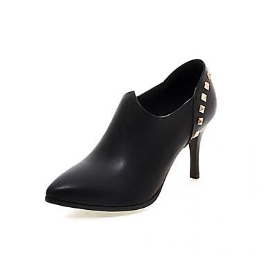 Mulheres Sapatos Microfibra Inverno Outono Conforto Inovador Botas Salto Agulha Dedo Apontado Botas Curtas / Ankle Ziper para Casual