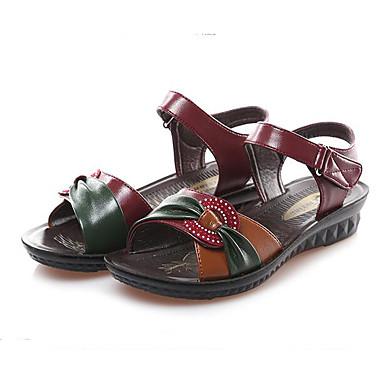 Naiset Kengät PU Kevät Comfort Sandaalit Käyttötarkoitus Kausaliteetti Musta Burgundi