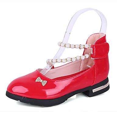 Tyttöjen Oxford-kengät Nahka Kevät Kesä Tekohelmillä Tarranauhalla Matala korko Musta Punainen Pinkki Tasapohja