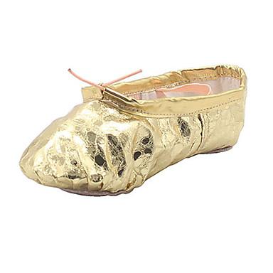 Sapatilhas de Balé Couro Sintético Sapatilha Leopardo Sem Salto Não Sapatos de Dança Dourado / Prateado / Interior