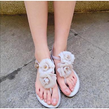Naiset Sandaalit Comfort Kevät PU Kausaliteetti Musta Manteli Paljas Tasapohja