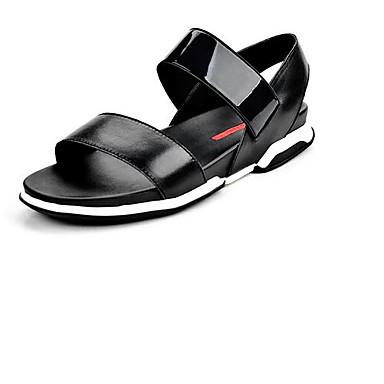 Miehet Sandaalit Nahka Kevät Musta Tasapohja