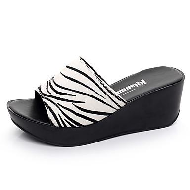 Mulheres Sapatos Pêlo de Cavalo Verão Conforto Sandálias Salto Plataforma Peep Toe Branco / Preto / Ivory