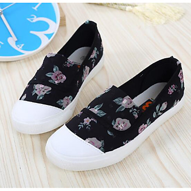 Naiset Sandaalit Comfort Kevät Canvas PU Kausaliteetti Valkoinen Musta Tasapohja