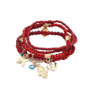 Women's Luxury Charm Bracelet - Luxury Tattoo Style Natural Turkish DIY Fashion Circle Geometric White Black Red Green Bracelet For Party
