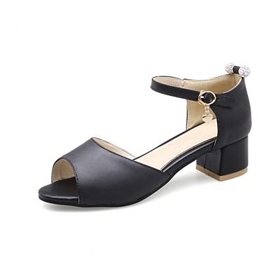 Mulheres Sapatos Couro Ecológico Courino Verão Outono Inovador Conforto Sandálias Caminhada Salto Robusto Peep Toe Pedrarias para Festas