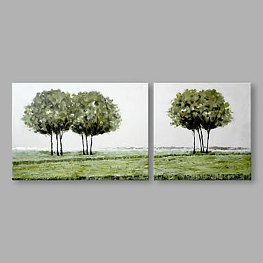 Pintura a Óleo Pintados à mão - Floral / Botânico Abstracto Modern Tela de pintura