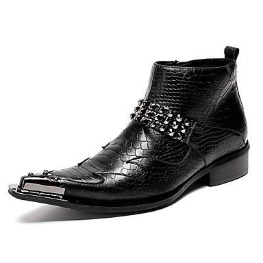 Férfi cipő Bőr Ősz / Tél Divatos csizmák Csizmák Gyalogló Bokacsizmák Fekete