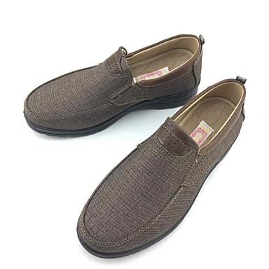 Homens sapatos Tecido Primavera Outono Conforto Mocassins e Slip-Ons Caminhada para Casual Escritório e Carreira Preto Marron