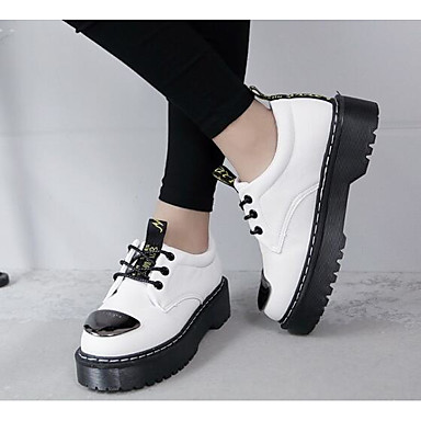 Women's Sneaker Comfort Spring PU Casual White Black Gray Flat