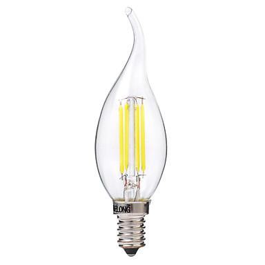 BRELONG® 1kpl 4W 400lm E14 LED-hehkulamput C35 4 LED-helmet COB Lämmin valkoinen Valkoinen 220-240V