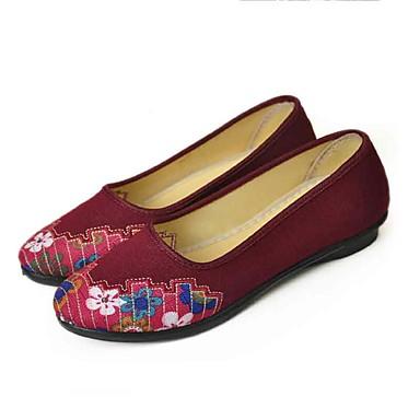 Mulheres Sapatos Tecido Primavera Verão Conforto Rasos Sem Salto Ponta Redonda Flor para Casual Social Preto Vermelho