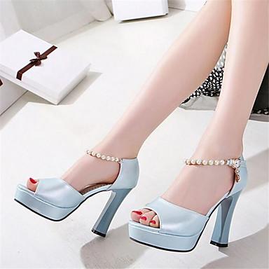 Women's Shoes PU Spring Comfort Sandals Chunky Heel Wedge Heel Stiletto Heel For Casual Light Blue