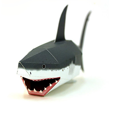 Quebra-Cabeças 3D Maquetes de Papel Artesanato de Papel Brinquedos de Montar Peixes Tubarão Faça Você Mesmo Cartão de Papel Duro Clássico
