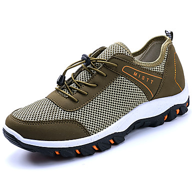 Men's Sneakers Comfort Ankle Strap Light Soles Spring Fall Tulle Hiking Shoes Casual Outdoor Lace-up Flat Heel Black Gray Blue Khaki Flat