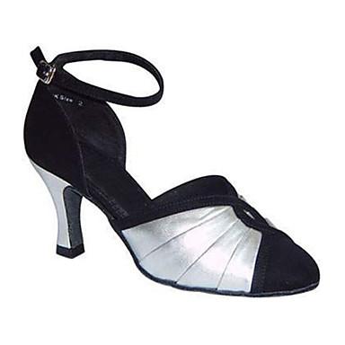 Mulheres Sapatos de Dança Moderna Seda Sandália Cruzado Salto Cubano Personalizável Sapatos de Dança Preto-branco / Espetáculo