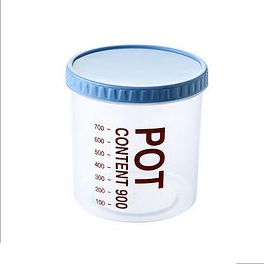 900ml asteikko merkintä läpinäkyvä muovi keittiö varastointikammio viljan karkkia