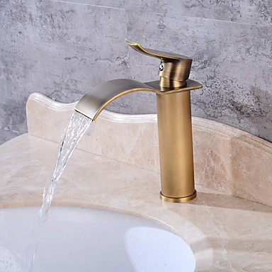 Centerset Waterfall One Hole Antique Copper, Bathroom Sink Faucet