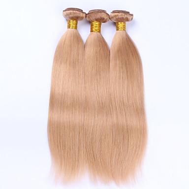 3 Bundles Brazilian Hair Straight Human Hair Precolored Hair Weaves Human Hair Weaves Human Hair Extensions Women's