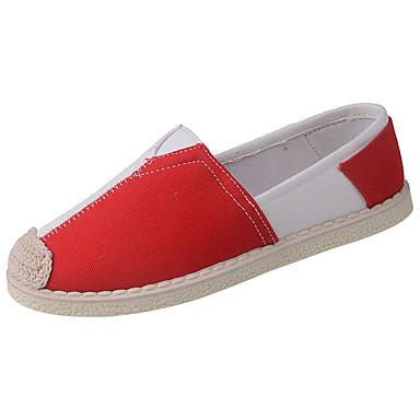Mulheres Sapatos Tecido Primavera Outono Conforto Tênis Sem Salto Ponta Redonda para Ao ar livre Preto Vermelho