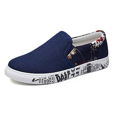 Homens sapatos Tecido Primavera Verão Conforto Mocassins e Slip-Ons Caminhada Apliques para Casual Preto e Dourado Azul Branco / Preto
