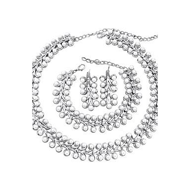 Dame Rhinstein Imitert Perle Smykkesett - Klassisk Euro-Amerikansk Mote Sirkelformet Sølv Smykke Sett Perlehalskjede Brude smykker sett