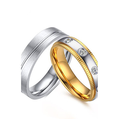 Casal Anéis de Casal Zircônia cúbica Dourado titânio Zircônia Cubica Aço Titânio Redonda Elegant Estilo simples Casamento Aniversário