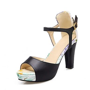 Mulheres Sapatos Courino Couro Ecológico Verão Outono Conforto Inovador Sandálias Caminhada Salto Robusto Peep Toe Presilha para Social