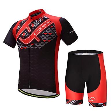 Homens Manga Curta Camisa com Shorts para Ciclismo Moto Conjuntos de Roupas Verão, Poliéster Lycra