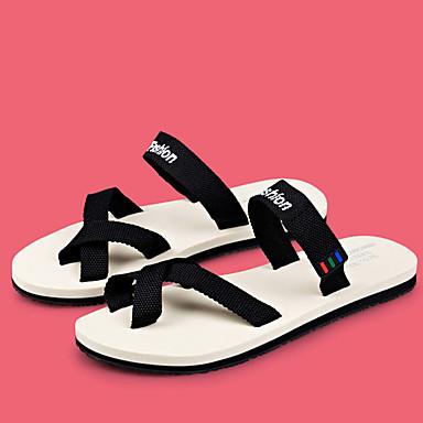 Homens sapatos Tecido Verão Solados com Luzes Chinelos e flip-flops Caminhada para Casual Preto Branco/Preto