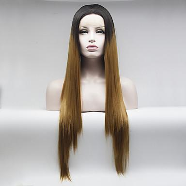 Cabelo Sintético perucas Reto Frente de Malha Peruca Natural Médio Longo Marrom