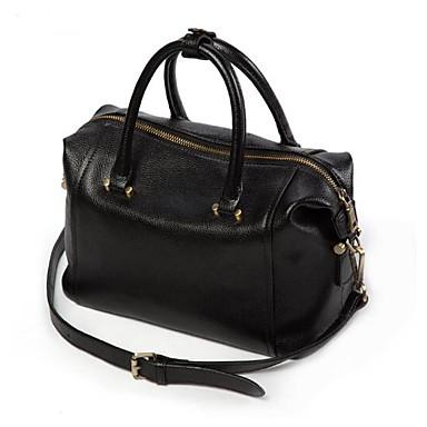 Women Shoulder Bag Cowhide All Seasons Casual Outdoor Cylindrical Zipper Black Lake blue