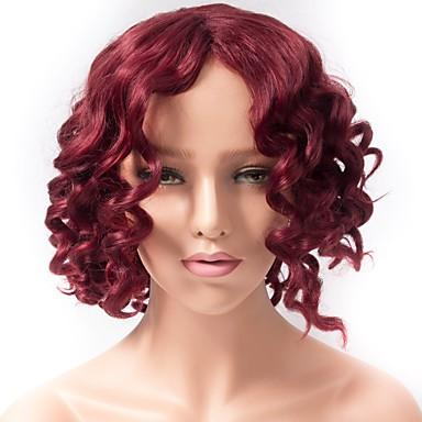 Naisten Synteettiset peruukit Suojuksettomat Lyhyt Kihara Punainen Tummille naisille Afro-amerikkalainen peruukki Luonnollinen peruukki