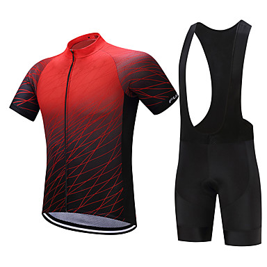 FUALRNY® Men's Short Sleeve Cycling Jersey with Bib Shorts - Black / Red Bike Clothing Suit, Quick Dry, Sweat-wicking Polyester, Coolmax®, Silicon Gradient / Stretchy / Lycra