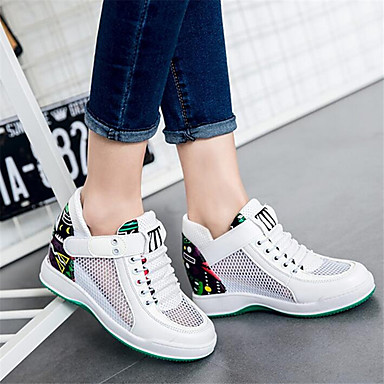 Women's Sneaker Comfort Spring Breathable Mesh PU Casual White Black Flat