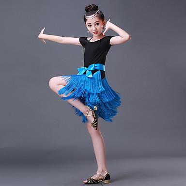 Dança Latina Vestidos Espetáculo Elastano Fibra de Leite Laço(s) Recortes Mocassim Manga Curta Alto Vestido